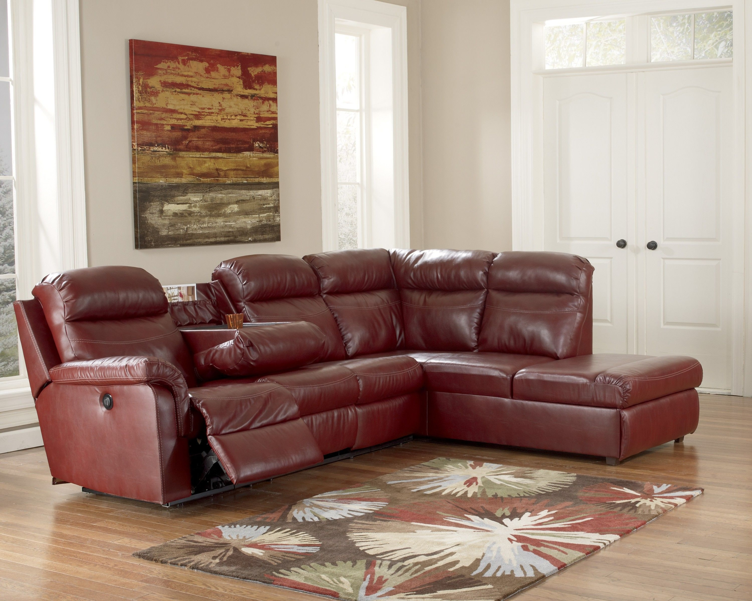 Small Sectional Sofa With Recliner   Small Chocolate .