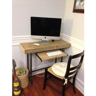 Small Urban Laptop / Computer Desk Reclaimed Wood w/ by