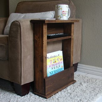 Sofa Chair Arm Rest Table Stand with Shelf and Storage