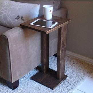 Sofa Chair Arm Rest Table Stand with Storage Pocket for