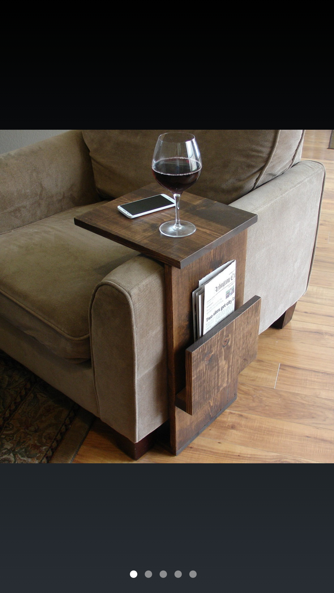 High Quality Sofa Chair Arm Rest Tray Table Stand With Side Storage