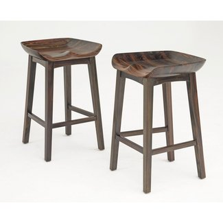 Solid Wood Bar Stools, Carved Bucket Seat, Scooped Tractor
