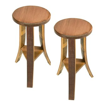 Solid Wood Handcrafted Wine Barrel Wood Stools