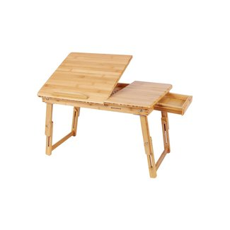 SONGMICS Bamboo Lap Desk Adjustable Breakfast Serving Bed Tray Tilting Top Drawer
