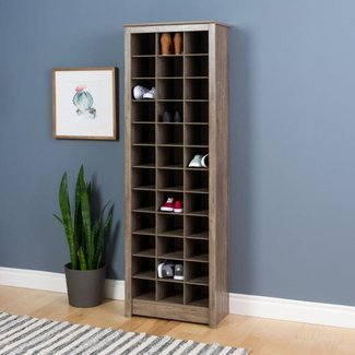 Space Saving Shoe Storage Cabinet Drifted Gray - Prepac ...