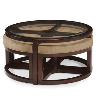 Spontaneous Seatings In Round Coffee Table With Stools