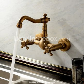 Sprinkle Antique Inspired Solid Brass Kitchen Faucet Wall Mount Bronze Two Holes Handles Long Curve Spout Bar Faucets Bamboo Shape Vintage Retro Design Lavatory Plumbing Fixtures Bathtub Mixer Taps Bath Shower Faucets Ceramic Valve Included 18uc-t