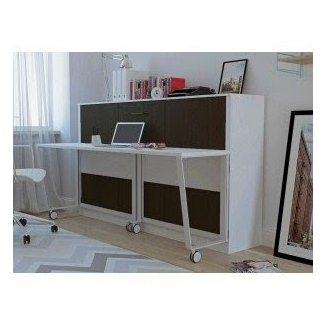 Stella Twin Murphy Bed with Storage Cabinet | White, MDH