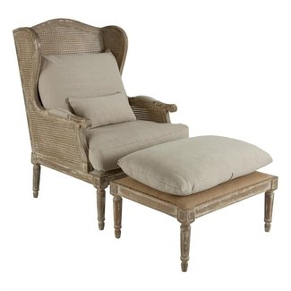 Stephen Hemp French Country Wing Back Chair with Ottoman ...