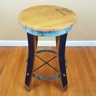 Swivel Top Bar Stool - Wine Barrel Handcrafted - Central Coast Creations - Wine Barrel Furniture
