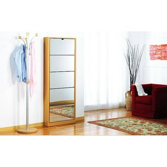 Tall Wooden Shoe Cabinet Design with Mirrors