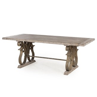 Talulah French Country Rustic Iron Scroll Aged Wood Dining ...