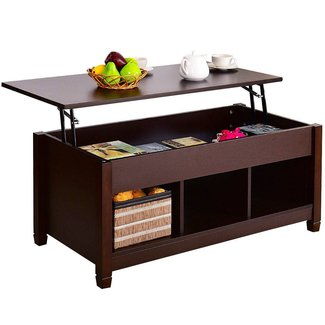 Tangkula Lift Top Coffee Table Modern Living Room Furniture with Hidden Compartment and Lift Tabletop
