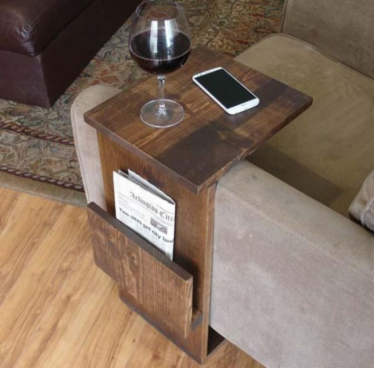 The Handmade Sofa End Table With Side Storage Slot |