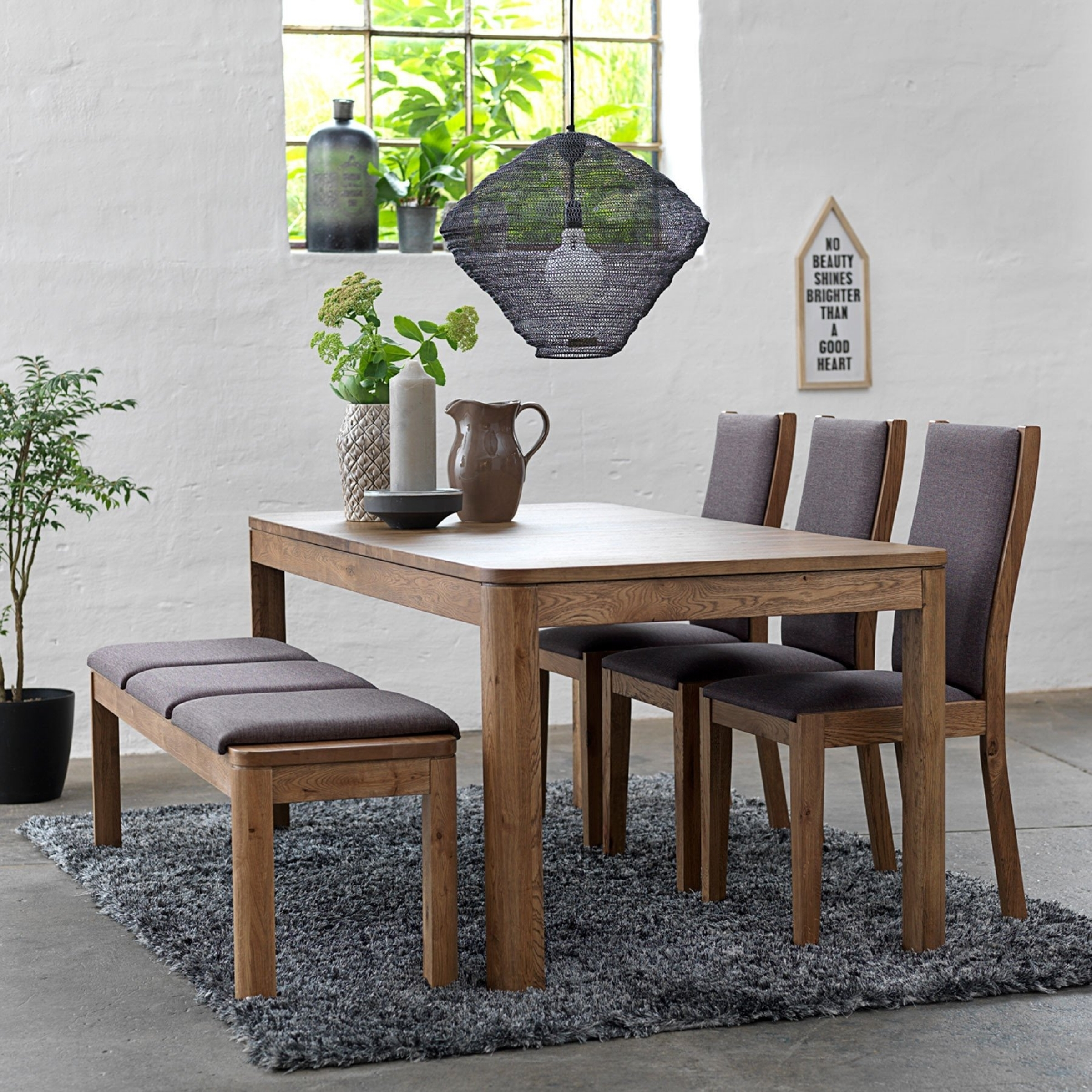 Oak Wood Table And Chairs: Dining Table With Bench