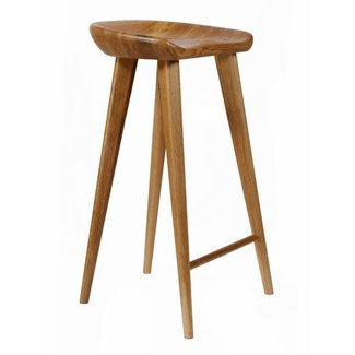 Tractor Contemporary Carved Wood Barstool, Natural ...