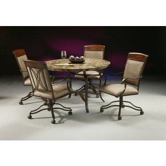 Traditional Wood and Metal Dinette Set with Castered ...