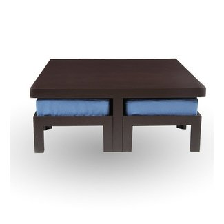 Trendy Coffee table With Four Stools- Blue by Purple Heart