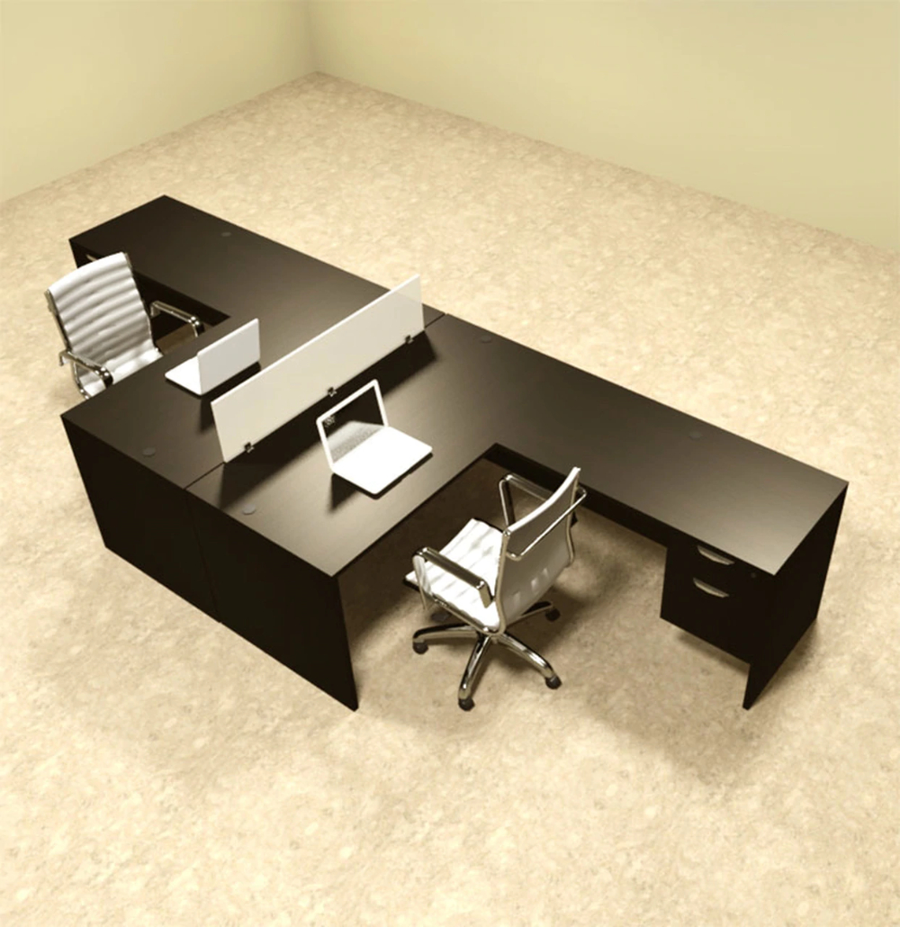 Delicieux Two Person L Shaped Divider Office Workstation Desk Set, #OT SUL FP40