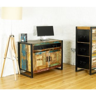 Urban Chic solid reclaimed wood office furniture hideaway ...