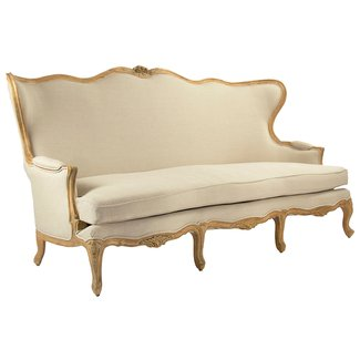 Vienne French Country Wing Back Beige Sofa | Kathy Kuo
