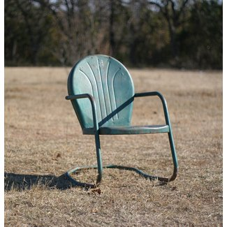 Vintage Style For An Old Fashioned Metal Lawn Chair A Garden Made Out Of Aluminum With Distressed Coat Green Paint The Seat And Cushion
