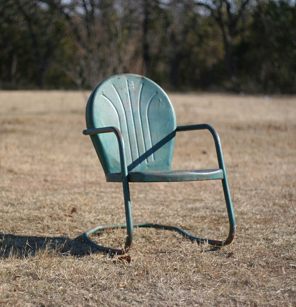 Attractive Vintage Style For An Old Fashioned Metal Lawn Chair For A Garden, Made Out  Of Aluminum With A Distressed Coat Of Green Paint. The Seat And Cushion Of  The ...