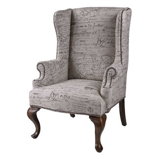 Vintage French Script Arm Chair - French Country