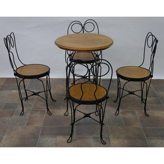 VINTAGE ICE CREAM PARLOR CHAIR AND TABLE (5 PC)