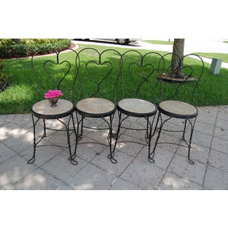 Vintage Ice Cream Parlor Chairs Set of 4 Wrought by