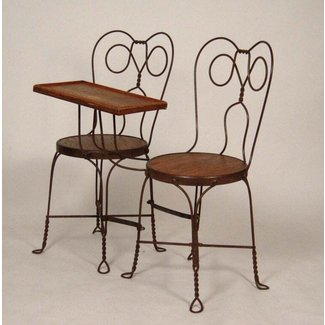 VINTAGE ICE CREAM PARLOR DOUBLE CHAIR WITH ATTACHED TABLE ...