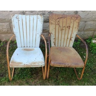 VINTAGE MIDCENTURY 1950s METAL SHABBY PAINTED LAWN CHAIR ...
