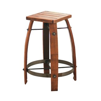 Vintage Oak Wine Barrel Bar Stool - Wine Enthusiast