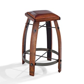 Vintage Oak Wine Barrel Bar Stool with Leather Seat -
