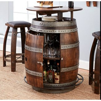 Vintage Oak Wine Barrel Bistro Table & Bar Stools (Whiskey