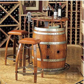 Vintage Oak Wine Barrel Bistro Table & Bar Stools -