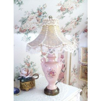 Vintage Pink Lamp And Lace Shade Shabby Chic Style Table