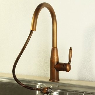 Vintage Pullout Antique Brass Kitchen Sink Faucets, $203.99