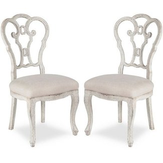 Vintage Shabby Chic Scroll Chairs - distressed white