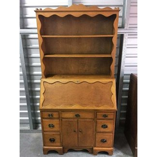 Vintage Solid Wood Secretary Desk With Hutch | Chairish
