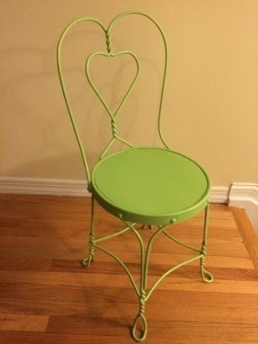 Vintage Wrought Iron Ice Cream Parlor Chair Green Chair