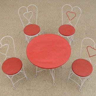 Vintage Wrought Iron Ice Cream Parlor Table and Chair Set