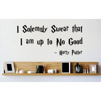 Vinyl Wall Decal Sticker : I Solemnly Swear That I Am Up To No Good Harry Potter Quote Bedroom Bathroom Living Room Picture Art Peel & Stick Mural Size: 10 Inches X 20 Inches Color: Black