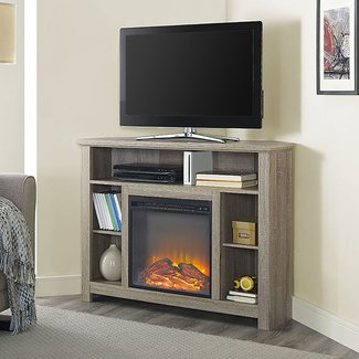 "W. Designs 44"" Wood Corner Highboy Fireplace TV Stand"