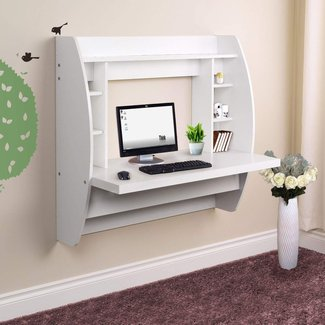 Wall Mounted Floating Computer Desk With Storage Home ...