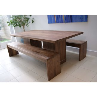Walnut Dining Table & Benches - MijMoj