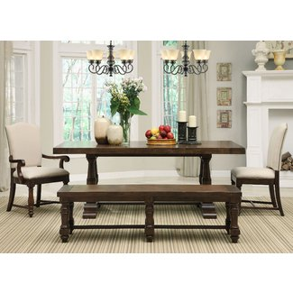 Walnut Wood Dining Table With Rectangle Brown Leather Seat ...