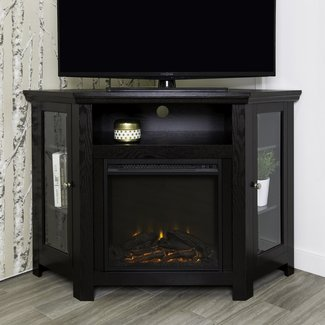 "WE Furniture 48"" Corner Wood Fireplace TV Stand"
