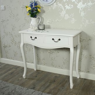 white console table 2 drawes bland handles french country ...