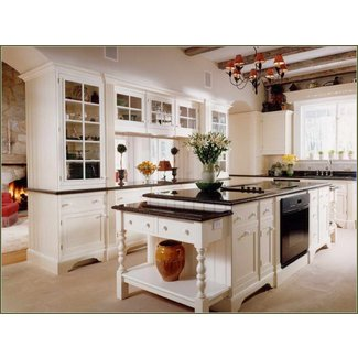 White Kitchen Cabinets With Antique Black Granite ...